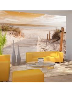 Papier peint adhésif Sur la plage sépia | Artgeist | Beige, orange, blanc, brun