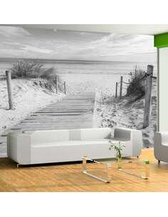 Papier peint adhésif Sur la plage nb | Artgeist | Noir et blanc