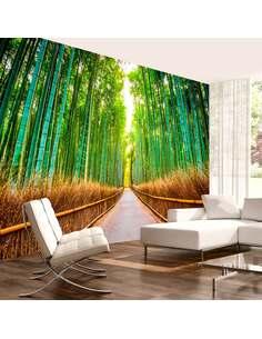 Papier peint adhésif Foret de bambou | Artgeist | Vert, brun, jaune