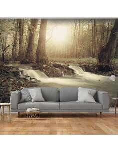 Papier peint adhésif Cascade de la forêt   Artgeist   Gris, brun, vert, jaune