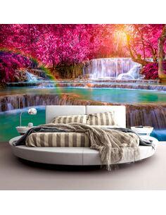 Papier peint adhésif Cascades roses | Artgeist | Rose, turquoise, brun, blanc