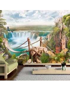 Papier peint adhésif Paradis caché | Artgeist | Brun, vert, bleu, blanc