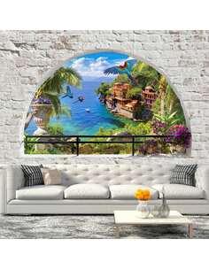 Papier peint adhésif Fenêtre au paradis | Artgeist | Blanc, bleu, vert