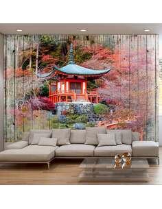 Papier peint adhésif Japon automnal | Artgeist | Brun, orange, vert, rouge