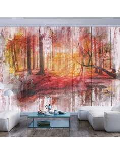 Papier peint adhésif Forêt d'automne | Artgeist | Rouge, orange, gris