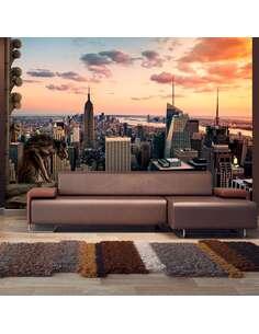 Papier peint adhésif New york, les gratte-ciel et le coucher de soleil | Artgeist | Beige, brun, orange, jaune