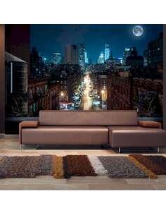 Papier peint adhésif New york endormi | Artgeist | Bleu marine, noir, azuré, brun, blanc