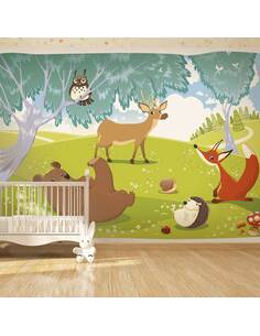Papier peint adhésif Forêt d'animaux | Artgeist | Vert, brun, rouge, bleu, blanc