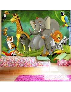 Papier peint adhésif Safari coloré   Artgeist   Vert et jaune