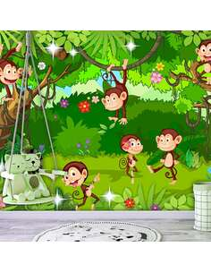 Papier peint adhésif Astuces de singe   Artgeist   Vert