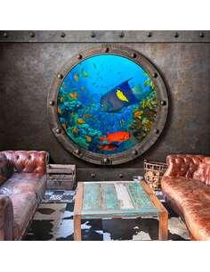Papier peint adhésif Fenêtre sous-marine | Artgeist | Gris et bleu
