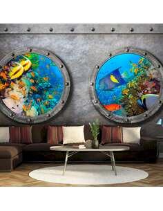Papier peint adhésif Fenêtre sur le monde sous-marin | Artgeist | Gris, bleu marine