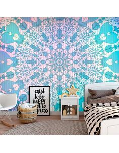 Papier peint adhésif Mandala girly | Artgeist | Bleu, rose, jaune