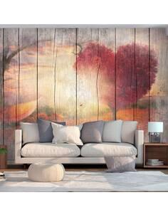 Papier peint adhésif Amour d'automne | Artgeist | Beige, rouge, gris, orange