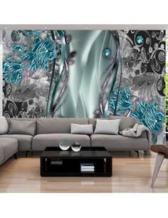 Papier peint adhésif Rideau floral | Artgeist | Turquoise, gris, vert, violet