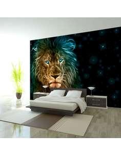 Papier peint adhésif Lion abstrait...   Artgeist   Noir, bleu, rouge, jaune