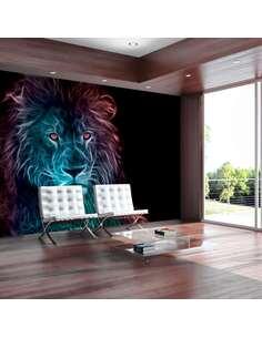 Papier peint adhésif Lion abstrait arc-en-ciel | Artgeist | Noir, bleu, rose, rouge, violet