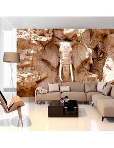 Papier peint adhésif Éléphant de pierre   Artgeist   Brun