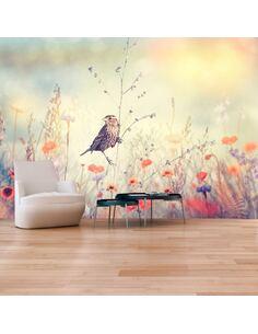 Papier peint adhésif Oiseau des champs   Artgeist   Jaune et beige