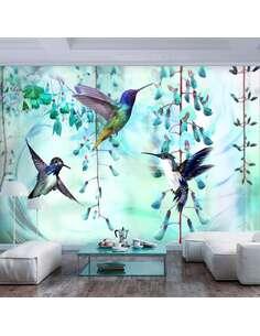 Papier peint adhésif Colibris volants | Artgeist | Vert, blanc, bleu