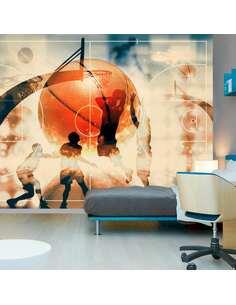 Papier peint adhésif J'adore le basket ! | Artgeist | Orange, noir, bleu