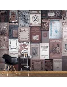 Papier peint adhésif Style rétro : livres | Artgeist | Bordeaux, bleu, gris, blanc