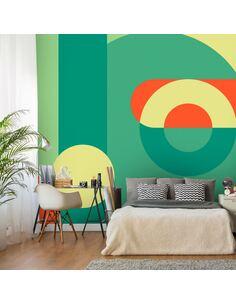 Papier peint adhésif Couronne géométrique | Artgeist | Vert, jaune, rouge